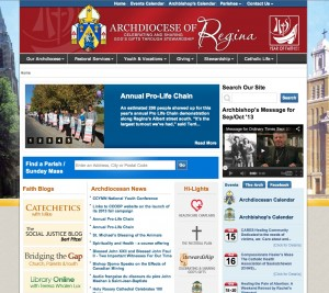 Church and Diocese web design. Archdiocese of Regina homepage