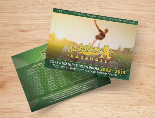 Saskatoon A's Baseball Postcard Ad Campaign